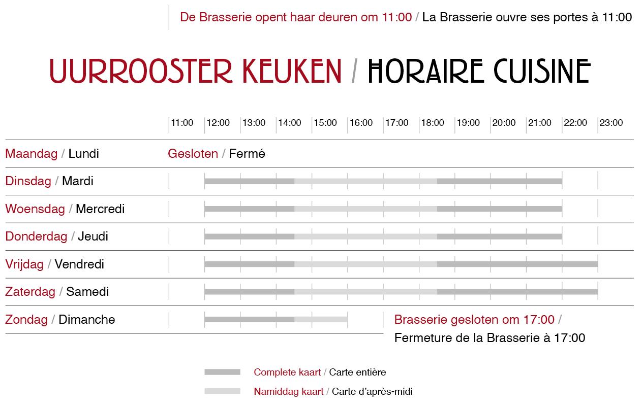 De Brasserie opent haar deuren om 11:00 - La Brasserie ouvre ses portes à 11:00
